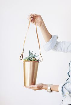 Beware, you may just want to keep these DIY copper hanging planters for yourself! Photo by In Honor of Design via Style Me Pretty