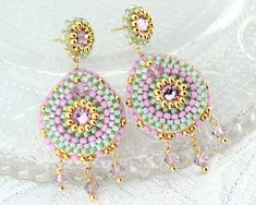 Pink bridal chandelier earrings - gold mint pink swarovski crystal statement earrings - spring summer wedding cocktail jewelry unique gift. $117.00, via Etsy.