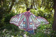This beautiful cloak is made in printed fabric.Is soft and delicate. Transparent on the both sides, one lighter that the other.  FABRIC OPTIONS:
