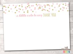 Pink and Gold Confetti Polka Dots Printable Thank You Cards – Erin Bradley/Ink Obsession Designs Printable Thank You Cards, Printable Planner Stickers, Printables, Thank You Card Size, Thank You Card Design, Baby Shower Thank You Cards, Gold Polka Dots, Gold Confetti, Recipe Cards