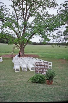 """""""Today two families become one. So pick a seat, not a side."""" Lenora's Legacy in Campobello, SC. http://www.lenoraslegacy.com/"""