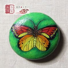 【木石画坊】原创中国风手绘石头田园——【蝴蝶】家居摆件镇纸