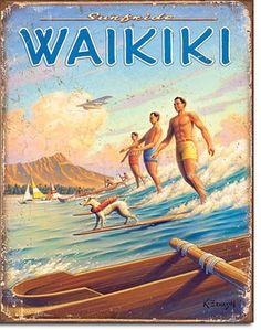 Surf Hawaii Waikiki Tin Metal Retro Sign Travel Poster Vtg Look Wall Decor Art Surf Vintage, Surf Retro, Hawaii Vintage, Vintage Surfing, Party Vintage, Vintage Hawaiian, Look Vintage, Retro Vintage, Vintage Travel Posters