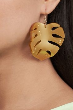 Hot House Leaves Earrings - Gold (£40.00) Leaf Earrings, Gold Earrings, Hot House, Tatty Devine, Leaves, Fun, Accessories, Jewelry, Fin Fun