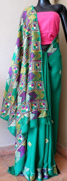 Hand-embroidered Georgette Phulkari Saree