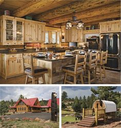 Nice kitchen. Check out the size of those logs! Also, the Sheep Herders Wagon is a guest room. Great idea!