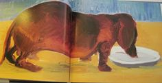Dachshund eating -- David Hockney painting.  View from the Birdhouse: Dear Abby: David Hockney's Dog Days