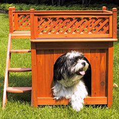Wood Dog House Durable Outdoor Indoor Small Pet Bed Luxury Shelter Home - Dog Houses