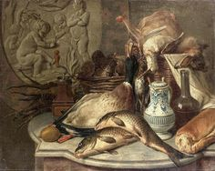 GÉRARD RYSBRAECK (ANVERS, 1696 - 1773) Nature morte au lièvre et fruits devant un bas-relief et Nature morte au pichet de faience Paire de toiles Signées et datées G.Rysbraeck 1757 en bas à gauche pour l'une, en bas, à droite pour l'autre