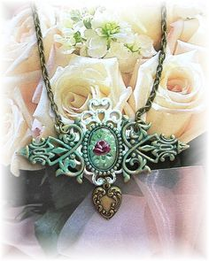 Victorian Style Gothic Brass Cameo Necklace by TheVintageHeart Hand painted Rose Filigree Brass Heart Charm Patina