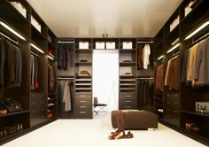 Modern Dark Brown Painted Solid Wood Walk-In Closet Clothes Storage Drawers and Shelfes and also Steel Under Cabinet Clothing Racks. 10 Best Dream Modern Lifestyle Walk-In Closet Designs Walk In Closet Design, Wardrobe Design, Closet Designs, Bedroom Designs, Walking Closet, Master Bedroom Closet, Bedroom Wardrobe, Bedroom Closets, Wardrobe Dresser