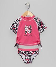Fuchsia 'Surfin' USA' Rashguard Set - Infant, Toddler & Girls