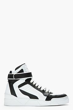GIVENCHY Black white leather high-top sneakers