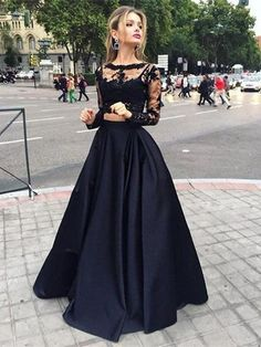2 Pieces Prom Dresses Long Sleeve Prom Dress See Through Prom Dress Dresses For Prom Sexy Prom Dress Black Lace Prom Dresses Prom Dresses Long Two Piece Prom Dress Simibridal Winter Prom Dresses, Grad Dresses Long, Prom Dresses Long With Sleeves, Black Prom Dresses, Evening Dresses, Dress Black, Long Gowns, Special Dresses, Dress Long