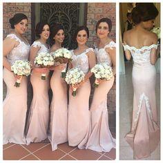 2015 New Arrival Custom Made Floor-Length Pink Long Chiffon Mermaid Bridesmaid Dresses Appliques Sexy Wedding Party Dresses
