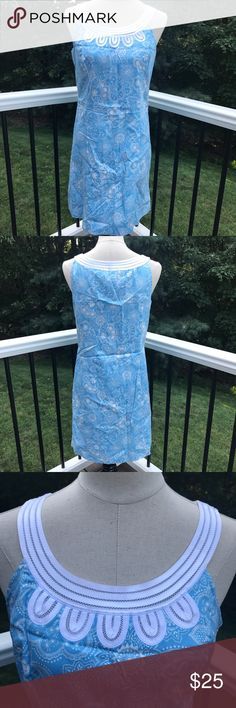 LOFT Dress Size 6 NWT LOFT Dress. Size 6. Gorgeous blue with white paisley design and white accent at neck. 100% Cotton. Dry Clean only. Smoke free home LOFT Dresses