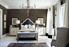 Sherwin Williams Van Dyke Brown walls via Beth Webb Interiors; upstairs guest bedroom?
