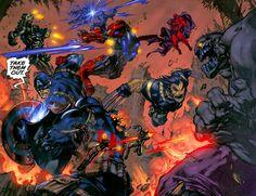 Ultimates by Joe Madureira Comic Book Artists, Comic Artist, Comic Books Art, Captain America Wallpaper, Marvel Wallpaper, Marvel Comic Character, Marvel Characters, Ghost Comic, Ninja