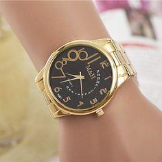 moda femenina rhinestones reloj de pulsera de cuarzo de acero número cinturón árabe (colores surtidos) – USD $ 7.99