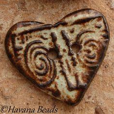 ORGANIC METALLIC BUTTON - Large Ceramic Heart Shaped Two Hole Button - Havana Beads - $10.00
