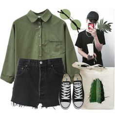 Green walk with Jeong Jun by evil-maknae on Polyvore featuring RE/DONE, Converse, The Row and Retrò