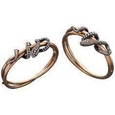 Antique Pair of Silver Gold Snake Bracelets