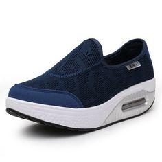Breathable Pure Color Swing Shoes Women Platform Casual Shoes