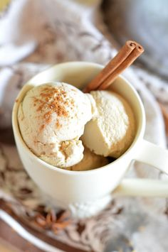 Chai Latte Ice Cream // Coffee & Quinoa (For THM - Use coconut milk instead of whole milk and use stevia, Truvia, erythritol, or xylitol for the sweetener)