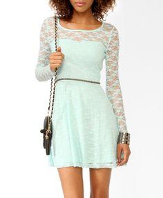 Long Sleeve Lace Skater Dress | FOREVER21 - 2025102113