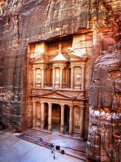 Petra, Jordan. I've been fascinated by this ever since I saw it in the Indiana Jones movie - isn't it amazing?