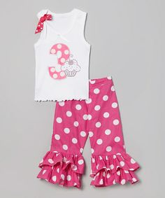 Another great find on #zulily! White '3' Birthday Tank & Pink Ruffle Pants - Toddler & Girls #zulilyfinds