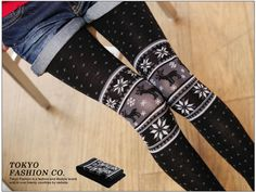 Nordic-Pattern Tights, Black , One Size - Tokyo Fashion   YESSTYLE