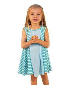 Love this Teal & White Stripe Janie Dress - Toddler & Girls on #zulily! #zulilyfinds