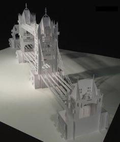 The London Tower Bridge Pop-up Origami Architecture Kirigami Kirigami Templates, Pop Up Card Templates, Origami And Kirigami, Paper Crafts Origami, Kirigami Tutorial, Paper Bridge, Origami Heart With Wings, Origami Architecture, Tropical Architecture