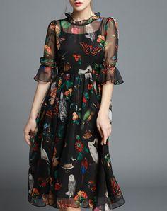 Black Owl Printed Ruffle Sheer Sleeve Midi Dress, Black, multiflora | VIPme