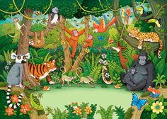 Describing the Jungle - Wild Animals Safari Jungle, Jungle Theme, Jungle Animals, Wild Animals, Rainforest Theme, Rainforest Classroom, Le Zoo, School Murals, Oeuvre D'art