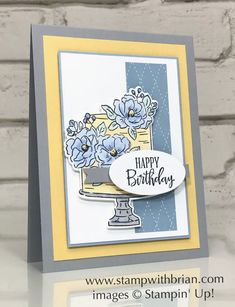 Happy Birthday to You, Peaceful Moments, Stampin Up!, Brian King, birthday card Source by stampwithbrian and me ideas Birthday Cake Card, Happy Birthday Cakes, Birthday Wishes, Stampin Pretty, Stampin Up, King Birthday, Daisy, Stamping Up Cards, I Card