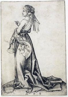 """The First Foolish Virgin"" by Martin Schongauer,  before 1483"