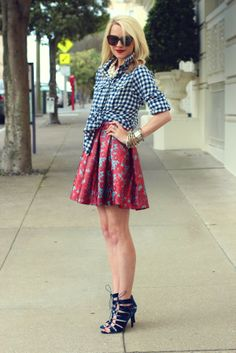 bought a gingham skirt, nice way to do so -- Love the gingham mixed with floral print. And the Isaac-37 shoes would be cuter.