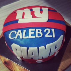 New York Giants cake, vanilla cake with vanilla butter cream, covered with fondant