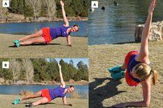 Seitstütz – Ausgangsposition: Ein Ellenbogen und ein Fuß stützen den Körper. Die Körperhaltung ist gerade unter Spannung. Der freie Arm liegt auf dem Körper oder ist locker in die Hüfte gestemmt. Geübte strecken ihn gerade Richtung Himmel. Fußposition: Entweder liegt der obere Fuß auf dem stützenden Fuß oder ist vor dem stützenden Fuß abgelegt und unterstützt die Stabilität der Ausgangsposition während der Übung. Ausführung: Ausgangsposition bis zur Ermüdung oder über ein Zeitintervall…