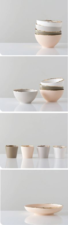 gold rimmed ceramics - so pretty