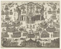 Anonymous | Het strijdperk van de Christelijke Ridder, Anonymous, Cornelis Danckerts (I), Cornelis Danckerts (II), 1630 - 1650 | Het strijdperk van de Christelijke Ridder. De ridder staat in het midden van zijn vesting en wordt bijgestaan door legers onder banieren van deugdzame idealen. Het kasteel is omringd en wordt belegerd door de troepen van de duivel die op de voorgrond zijn tent heeft opgeslagen. Deze legers strijden onder de vlag van allerlei zonden en ondeugden. Op de voorgrond…