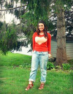 tangerine + peach <3 sweater and boyfriend jeans