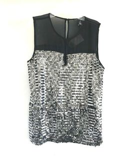 29b7a3bc624492 CHICO S BLACK LABEL NWT WOMAN SEQUIN BLOCKED Top SIZE 0 S SLEEVELESS 14P   Chicos