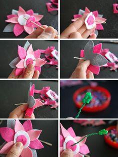 corona de flores que hicimos con flores de plástico