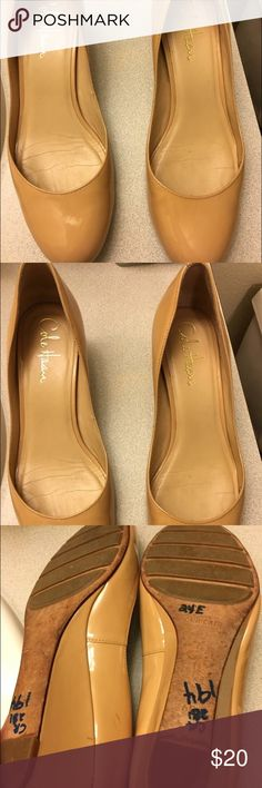 Cole haan tan wedges Good used condition Nike air wedges . Super comfy and barely used . Few scuffs and one mark . Barely worn insoles are in very good condition. Retails for 189$. Cole Haan Shoes Wedges