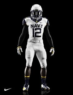 As the Black Knights and Midshipmen prepare for the Army-Navy Game this weekend, both teams have revealed new Nike uniforms for the special occasion. College Football Uniforms, Navy Football, Football Is Life, Football Jerseys, Football Helmets, Football Poses, Collage Football, Football Outfits, Alabama Football