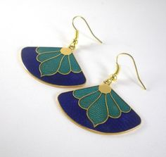 Vintage Cloisonne Earrings Asian Oriental Enamel by paleorama,