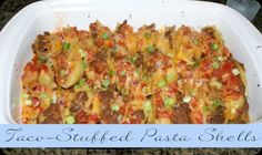 Taco stuffed pasta shells-use black beans or fat-free refried-lower fat cheese and very, very lean beef.